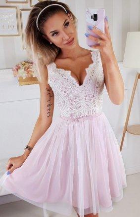 Rozkloszowana sukienka z koronką róż-ecru Bicotone 2206-22