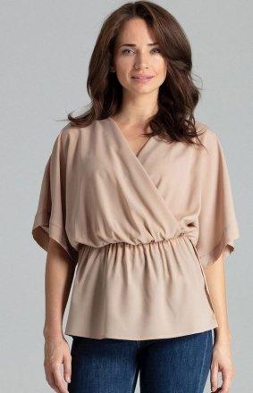 Oversizowa bluzka beżowa L063