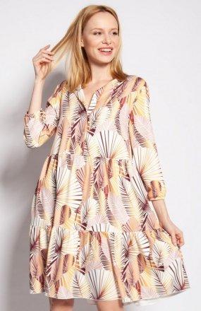Sukienka z falbankami abstrakcyjne liście SUK180
