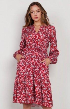 Rozkloszowana sukienka z troczkami w pasie czerwona SUK203