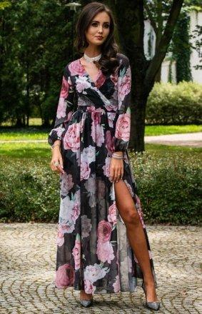 Długa sukienka w kwiaty 0219/D47