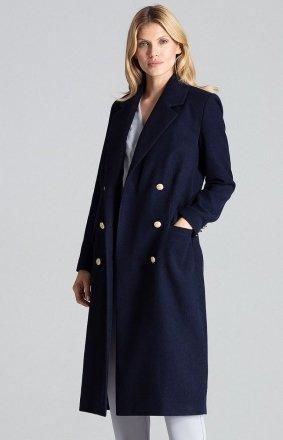 Granatowy dwurzędowy płaszcz damski M681