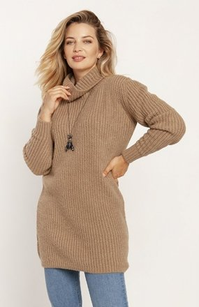 MKM SWE254 długi sweter z golfem mocca