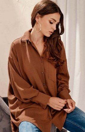 Oversizowa koszula damska brązowa 0125