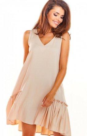 Luźna sukienka z falbaną na dole A285