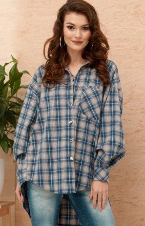 Asymetryczna koszula w kratę 0103 A12