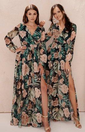 Długa sukienka w kwiaty 0219/U80