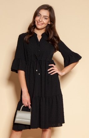 Sukienka z falbanami i troczkiem w pasie czarna SUK197