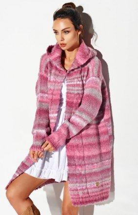 Ciepły sweter z kapturem brudny róż LSG103