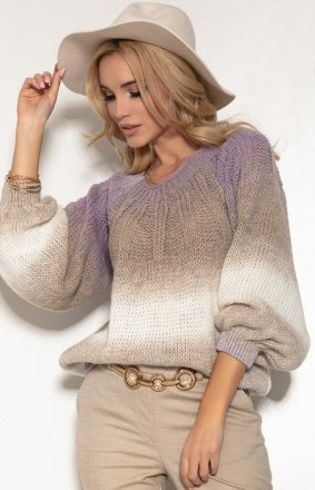 Oversizowy sweter ombre lawenda F1157