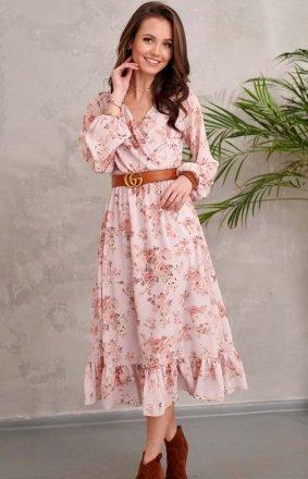Sukienka midi z falbaną w kwiaty 0241/R35