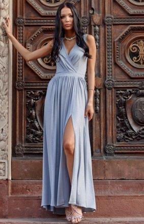 Wieczorowa brokatowa sukienka maxi szara 0224