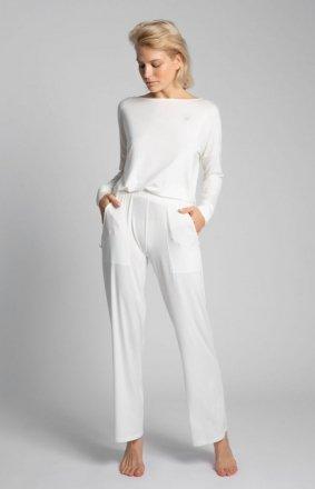 Spodnie do spania z szerokimi nogawkami ecru LA028