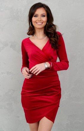 Sukienka ołówkowa welur czerwona 0318