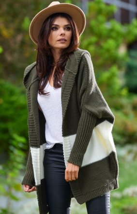 Oversizowy sweter z kapturem khaki A392