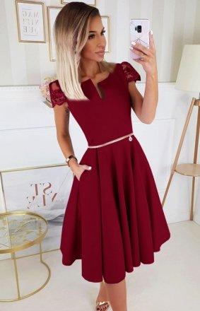 Koktajlowa sukienka midi bordowa 2212-10