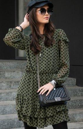 Szyfonowa sukienka w zielone groszki 259/D90