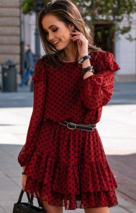 Szyfonowa sukienka w czerwone groszki 259/D88