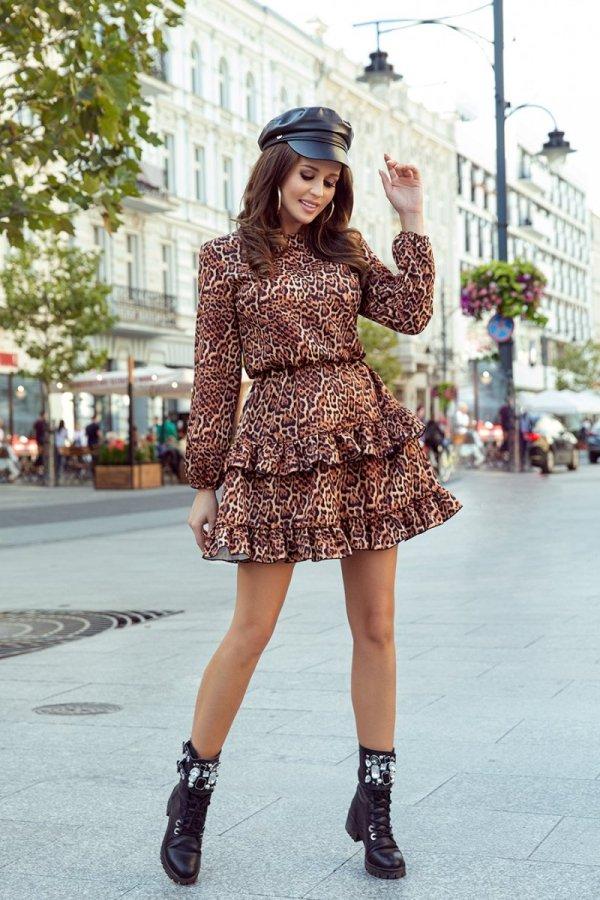 Sukienka w panterkę Romi 285-1-1