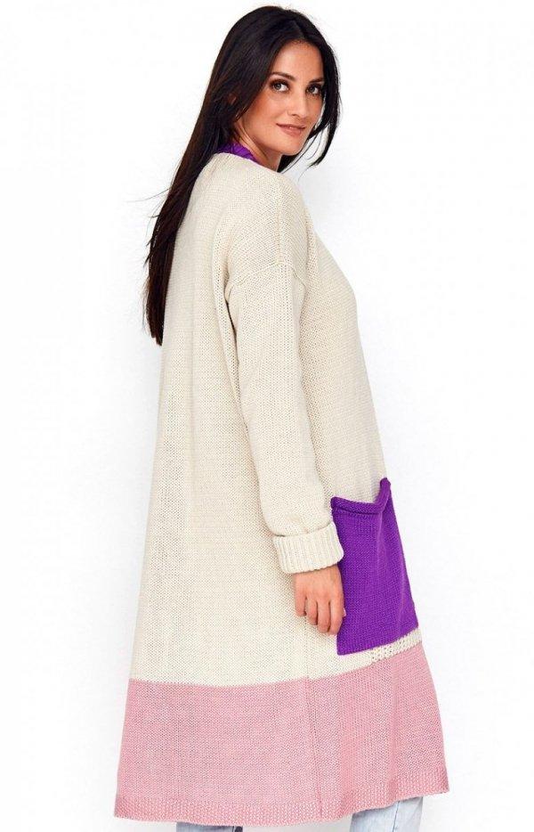 Długi trójkolorowy sweter kardigan fioletowy S70 tył