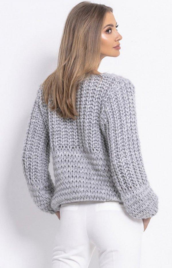 Oversizowy sweter z grubym splotem szary F760 tył