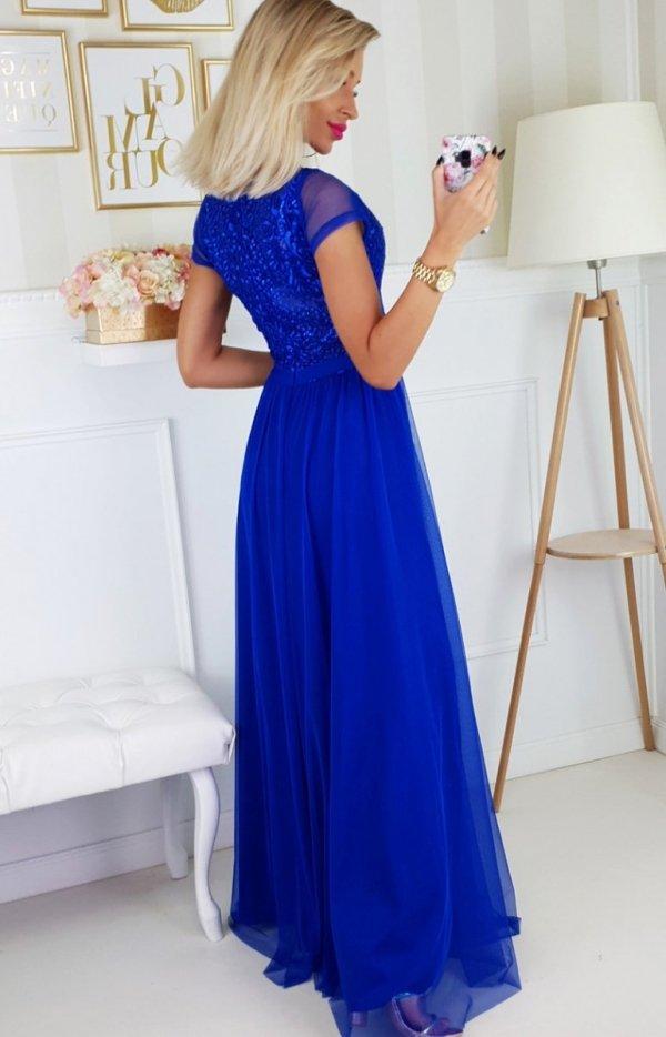 Wieczorowa długa sukienka chabrowa 2187-05 tył