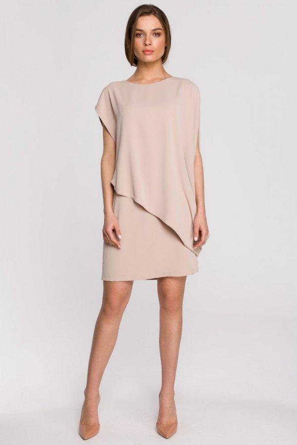 Elegancka sukienka mini warstwowa beżowa S262-1