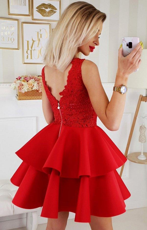 Piankowa sukienka z koronką 2175-02 tył