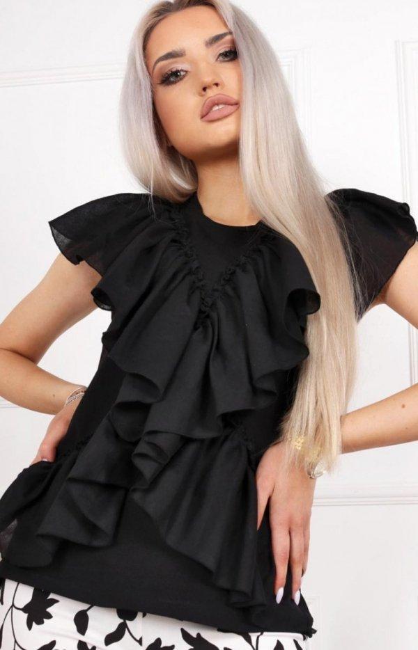 Czarna bluzka z falbankami