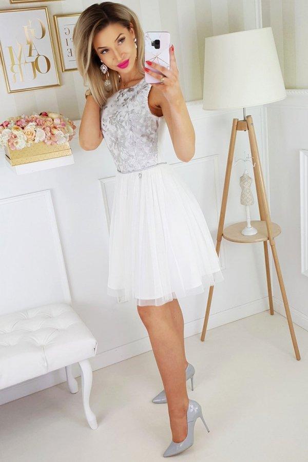 Bicotone sukienka z koronką biało-szara 2179-31_1