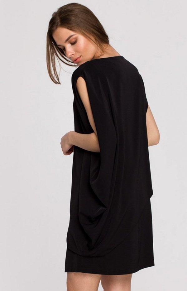 Elegancka sukienka mini warstwowa czarna S262 tył