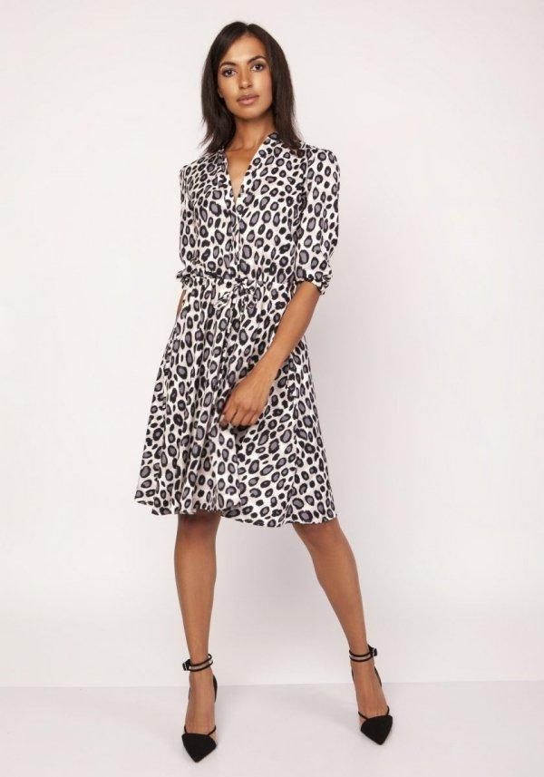 Sukienka o rozkloszowanym dole panterka SUK155
