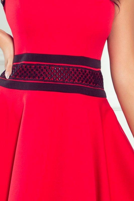Rozkloszowana czerwona sukienka 261-1 RICA-2