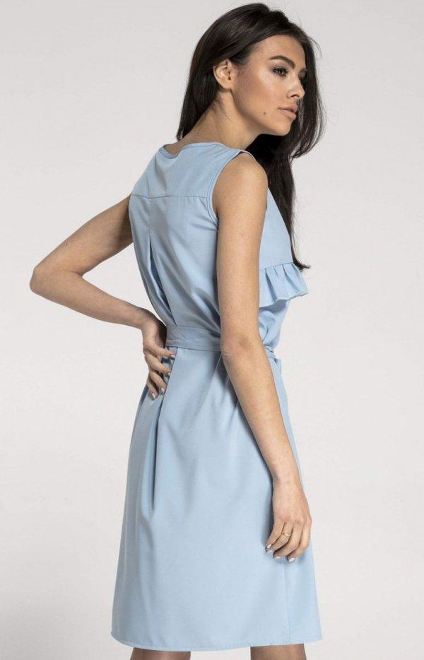 Prosta sukienka z falbanką błękitna NA1001 tył