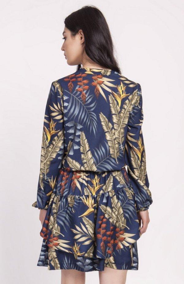 Sukienka z falbanką liście granat SUK174 tył