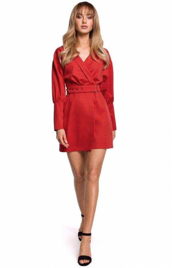 Stylowa sukienka z paskiem czerwona M501-1