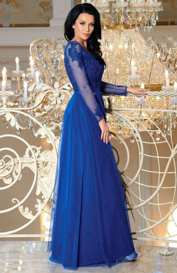 Bicotone 2167-05 sukienka chabrowa tył