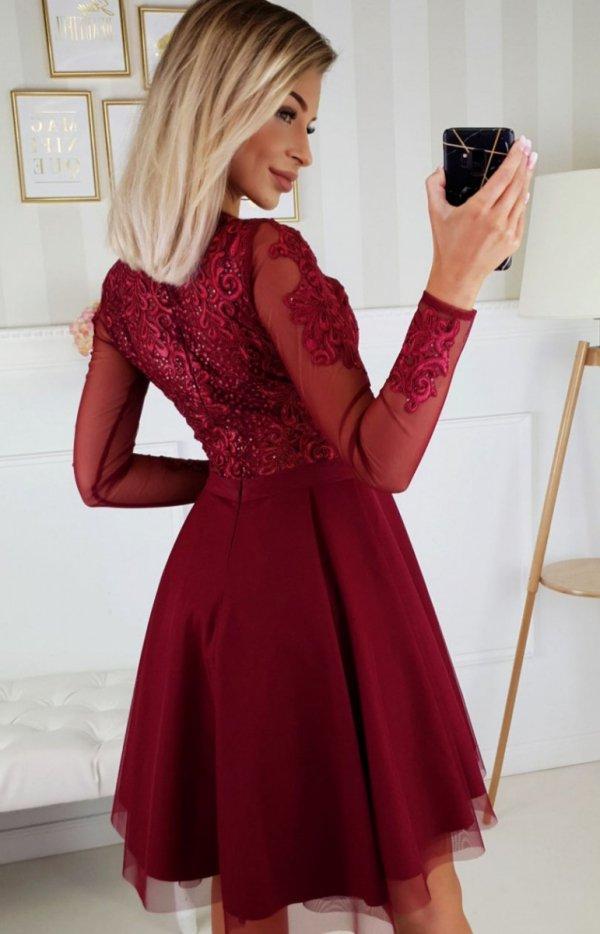 Bicotone 2160-10 sukienka rozkloszowana bordowa tył