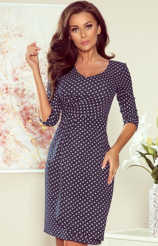 Ołówkowa sukienka w kropki 255-1 Iris Numoco