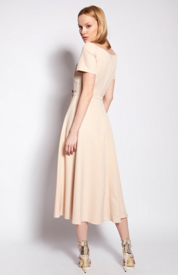 Sukienka trapezowa midi beżowa SUK181 tył