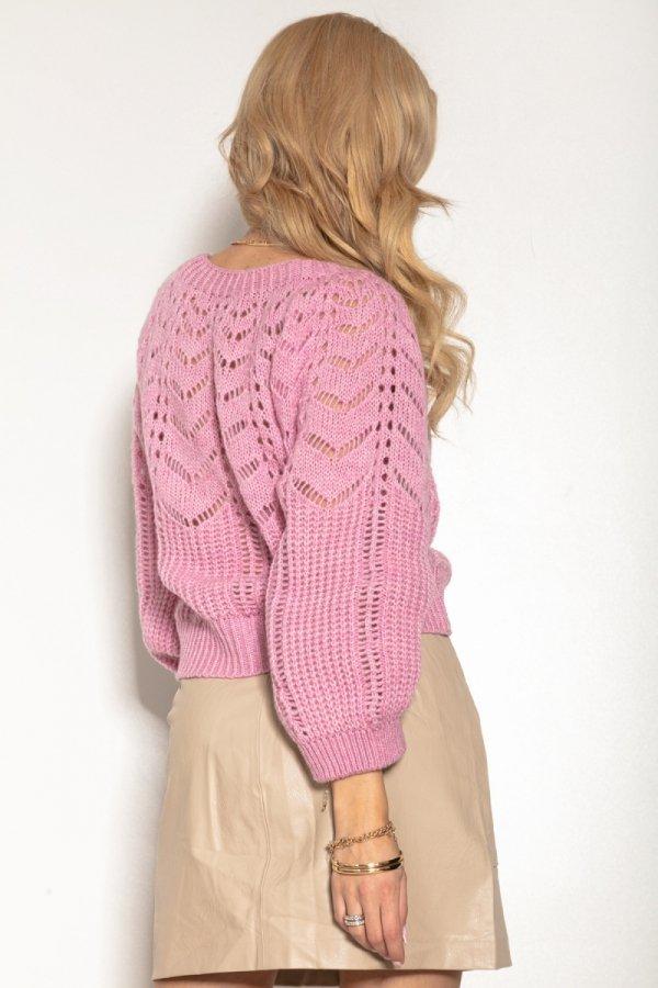 Ażurowy sweter damski róż F1156 tył