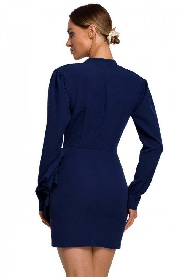 Elegancka mini sukienka z falbaną navy M531 tył