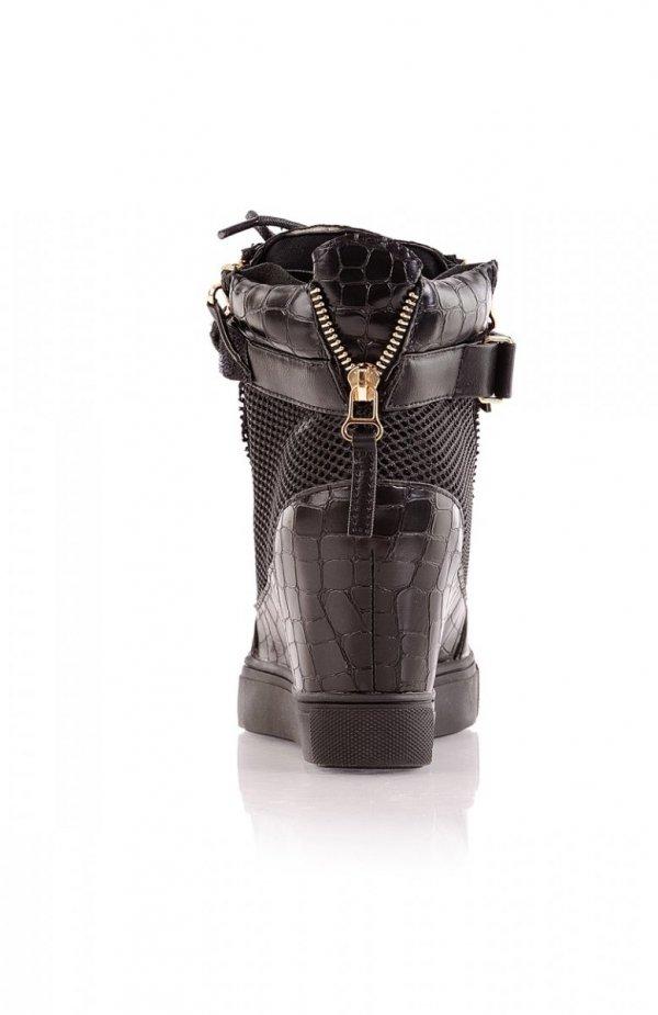 Czarne sneakersy złote blaszki
