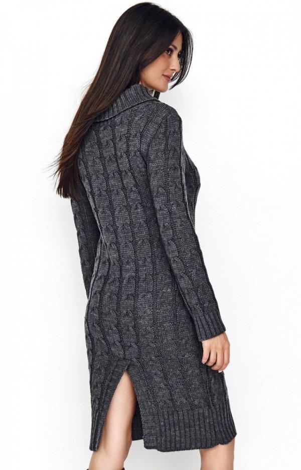 Sweterkowa sukienka z golfem grafitowa S68 tył
