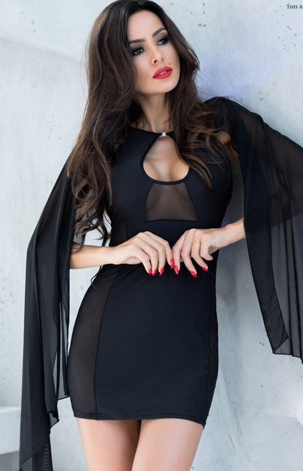 Seksowna mini sukienka z narzutką 4329