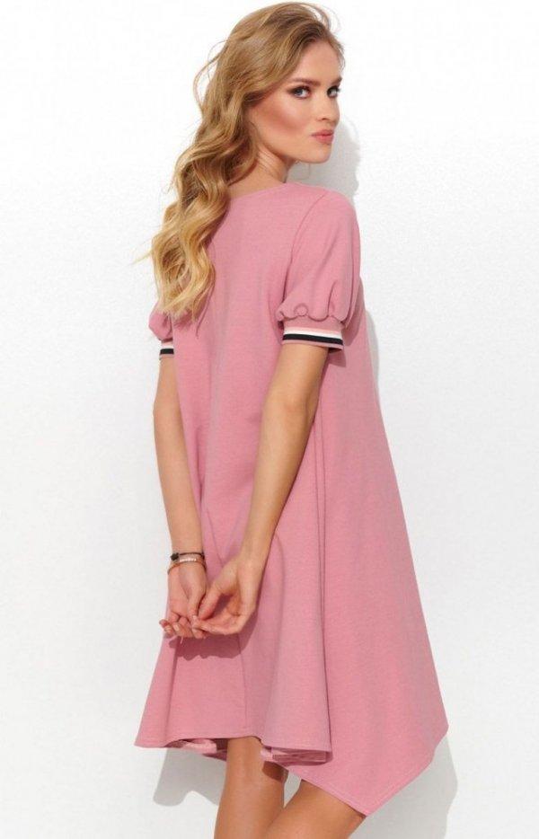 Asymetryczna dzianinowa sukienka pudrowy róż NU299 tył