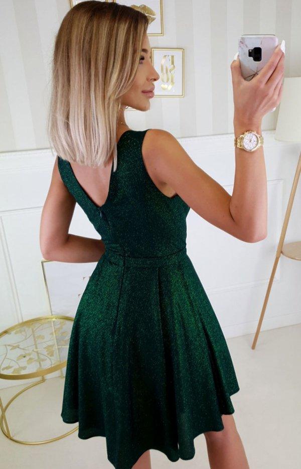 Elegancka ciemno zielona sukienka z brokatem 2215-13 tył