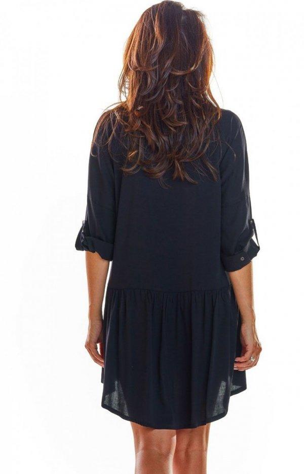 Koszulowa sukienka asymetryczna czarna A300 tył