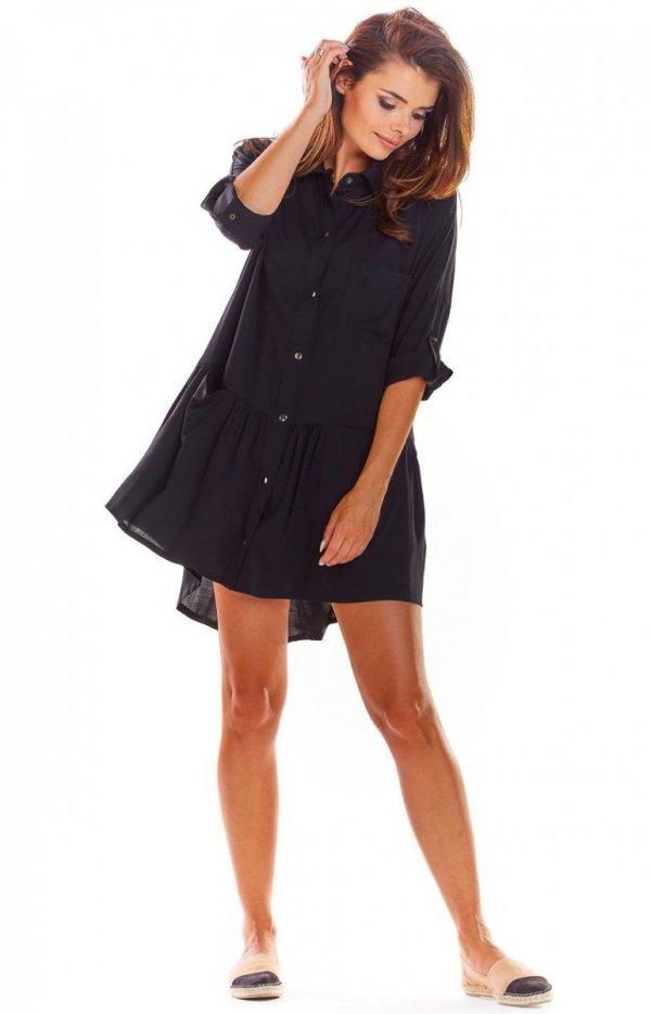 Koszulowa sukienka asymetryczna czarna A300-1