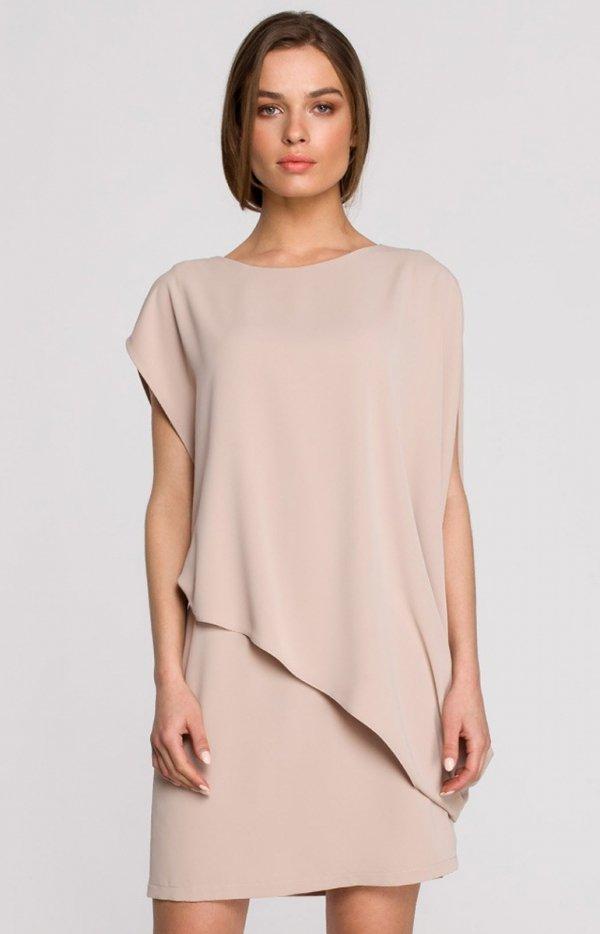 Elegancka sukienka mini warstwowa beżowa S262